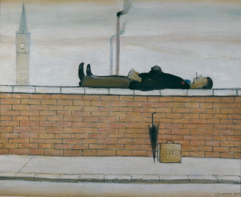 L. S. Lowry - Man Lying On A Wall 1957