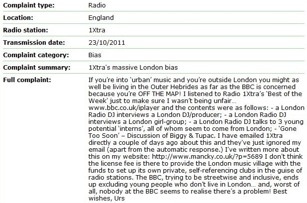 1Xtra London Bias – Continued