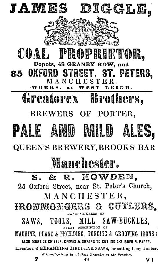 Slaters Directory Manchester & Salford 1863